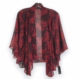 Apt 9 Red Black Kimono Style Open Cardigan Top L